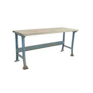 American 1940s Industrial Steel Work Table For Sale
