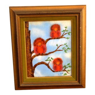 1960s Framed Realism Enamel Painting on Copper by J. Polk Three Birds Sitting on Tree For Sale