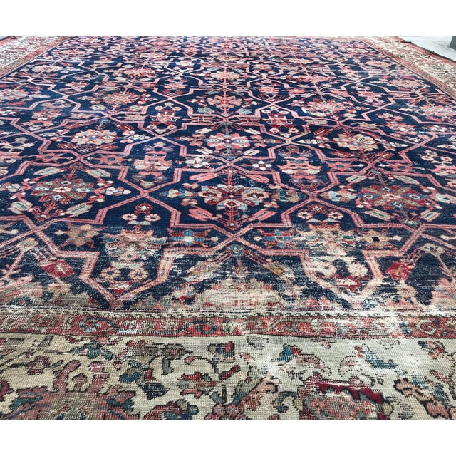 Ink Blue Vintage Design Decorative Blue Background Color Mahal Rug- 9′5″ × 13′5″ For Sale - Image 8 of 13