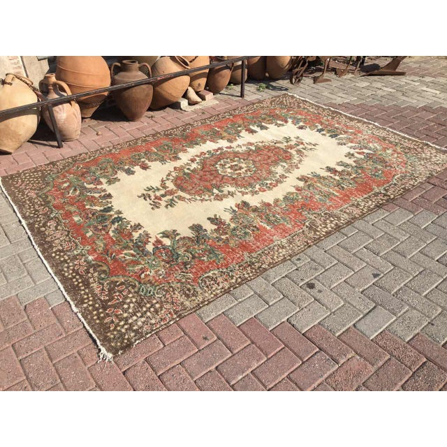 Islamic Vintage Hand Knotted Turkish Rug For Sale - Image 3 of 11