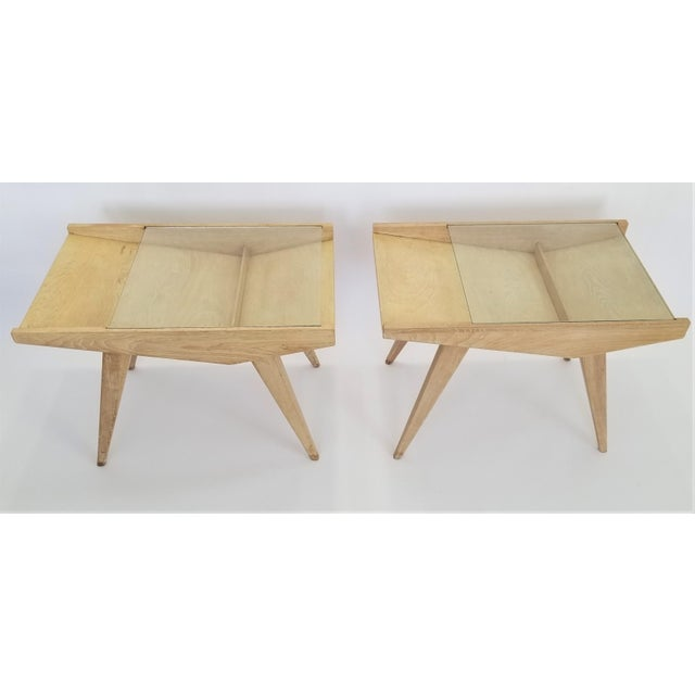 Wood Pair End Tables or Nightstands Magazine Style -1950s Vintage Blond Wood and Glass - Mid Century Modern Minimalist Sleek For Sale - Image 7 of 13