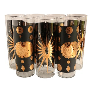 Fred Press Celestial Eclipse Cocktail Glasses - Set of 7 For Sale