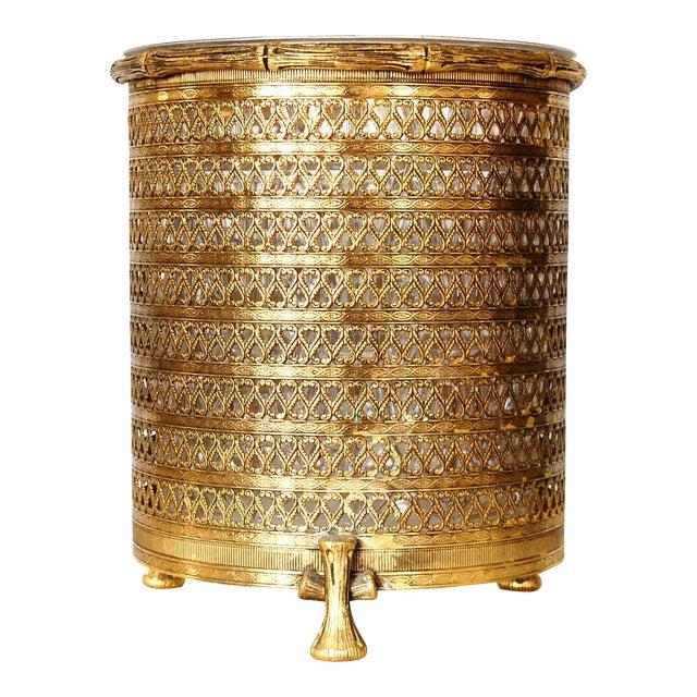 Hollywood Regency Gold Waste Basket For Sale