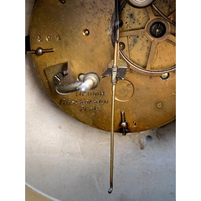French Art Deco Marble Mantle Clock For Sale - Image 9 of 12