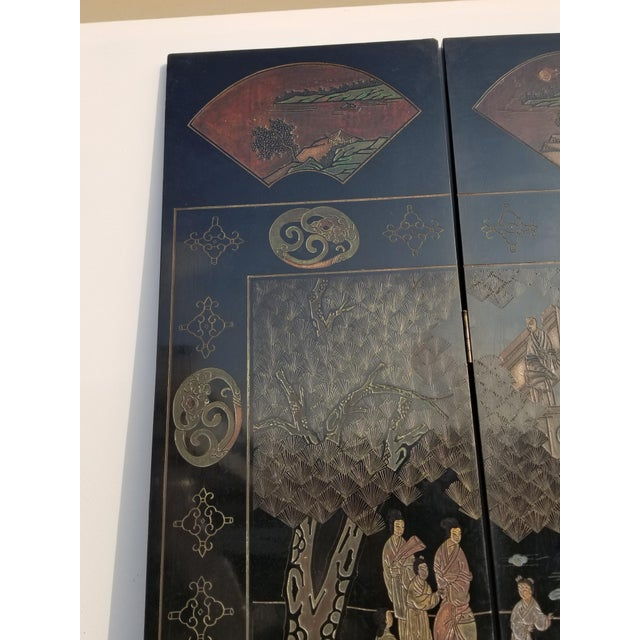 20th Century Asian Chinese Chinoiserie Black Coromandel 12 Panel Screen Oriental Asian For Sale - Image 9 of 12
