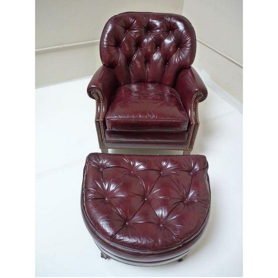 Hancock & Moore Chesterfield Chair & Ottoman - Image 2 of 8