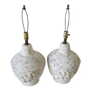 Mid Century Modern Plaster and Ceramic Table Lamps - A Pair
