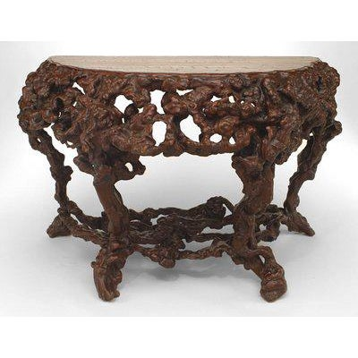 Mid 18th Century Pair of Asian Chinese Rustic Style Root Console Tables For Sale - Image 5 of 6