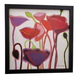 Original Signed & Framed Abstract Floral Painting For Sale