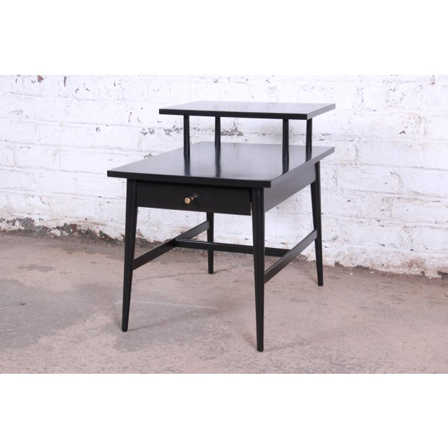 Paul McCobb Planner Group Two-Tier Ebonized End Table or Nightstand, 1950s For Sale - Image 10 of 10