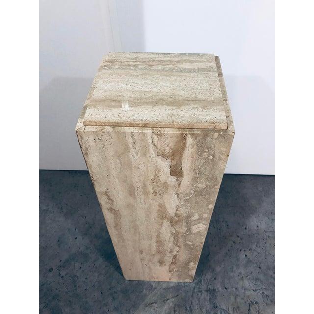 Stone 1970s Mid-Century Modern Italian Travertine Pedestal Table For Sale - Image 7 of 10