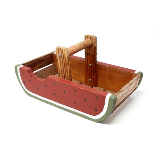 Vintage Handmade Wood Watermelon Slice Basket For Sale - Image 10 of 10