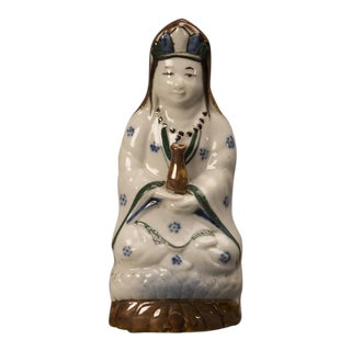 Devotional porcelain polychrome figure of a robed woman from Kuang Hsu period China c.1875 For Sale