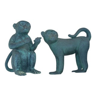 Cast Metal Monkey Figurines - a Pair For Sale