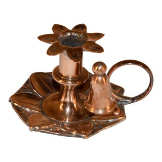 19th C English Copper Chamberstick For Sale