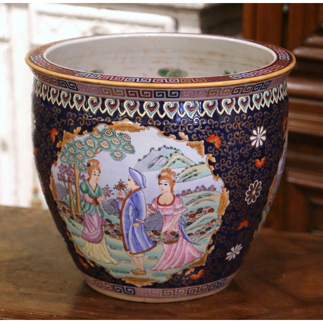 Midcentury Chinese Export Porcelain Fish Bowl With Oriental Decorations For Sale - Image 12 of 12