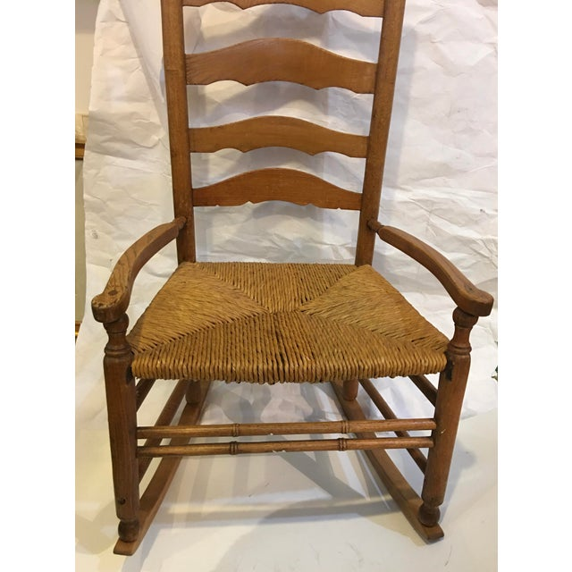 Cabin Vintage Rush Seat Rocking Chair For Sale - Image 3 of 9