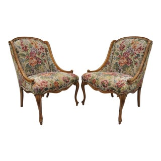 1960s Vintage French Provincial Floral Tapestry Fabric Slipper Hiprest Chairs - a Pair