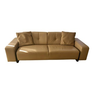Polaris Sofa in Camel Leather For Sale