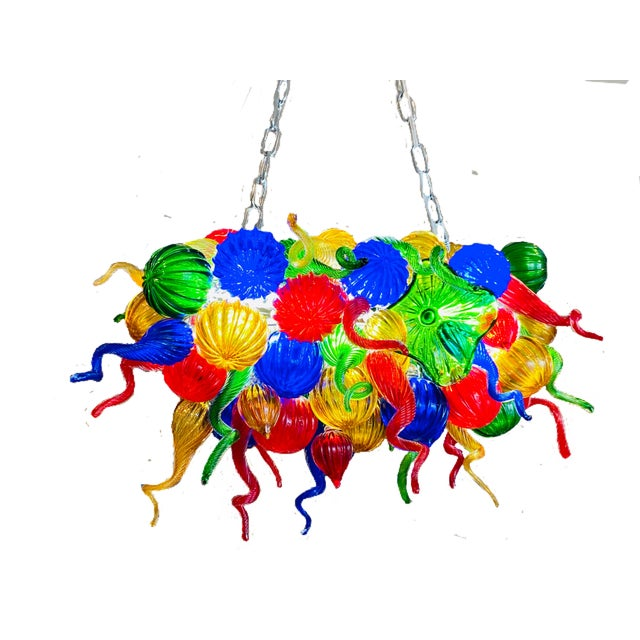 Chihuly Style Hand Blown Murano Glass Chandelier For Sale - Image 11 of 11