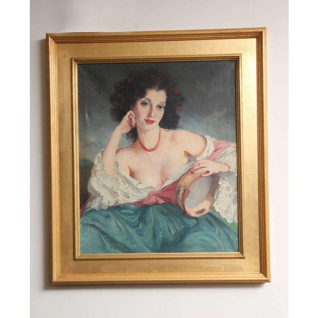 """Blue Maria Szantho """"Woman With Tambourine"""", 1930s For Sale - Image 8 of 8"""