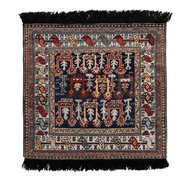 Rug & Kilim's Classic Style Rug in Blue and Red Geometric Tribal Pattern For Sale