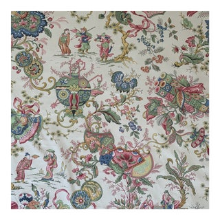 "Vintage Schumacher Chintz Style Japanese Asian ""Sayuri"" Screenprint Cotton Print Fabric- 4 Yards For Sale"