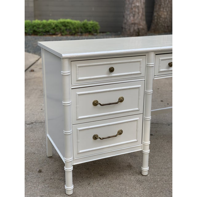1970s Hollywood Regency Thomasville Allegro Faux Bamboo Writing Desk For Sale - Image 9 of 12