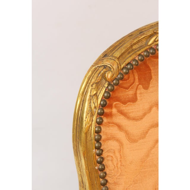Orange Antique Louis XV Style Gilt Wood Armchairs - a Pair For Sale - Image 8 of 11
