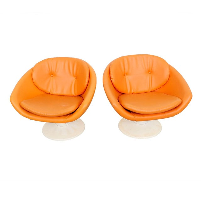 60s Orange Swivel Pod Chairs by Overman, Sweden - Pair For Sale