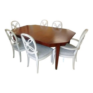 Henredon Furniture Acquisitions Paris Octave Walnut Dining Table Set- 7 Pieces For Sale