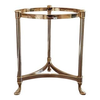 Vintage LaBarge Hollywood Regency Brass Hoof Foot 3 Legged Side Table For Sale