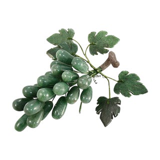 Green Hand Carved Stone Grape Cluster For Sale