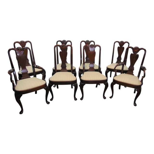Queen Anne Solid Mahogany S Carved, Queen Anne Mahogany Dining Chairs