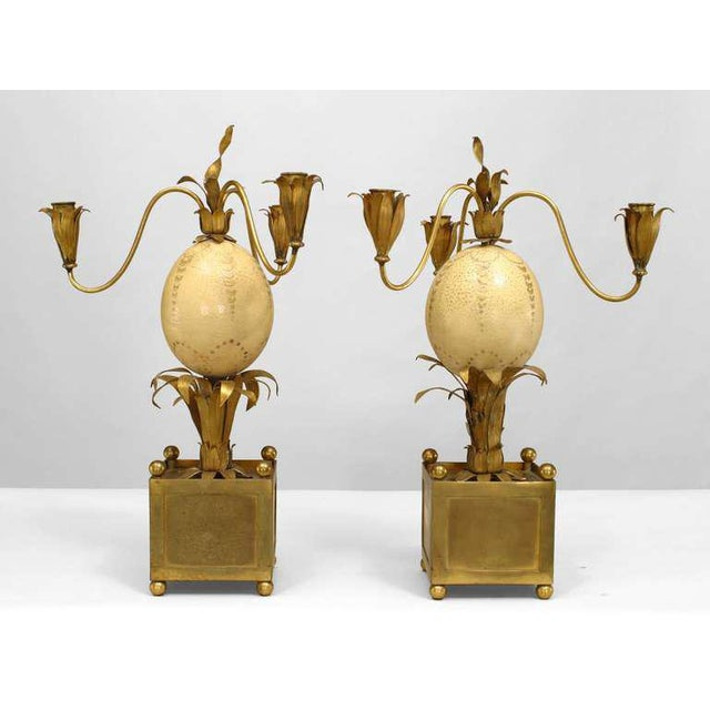 Pair of 1940s French Palm Inspired Ostrich Egg Candelabra For Sale In New York - Image 6 of 6