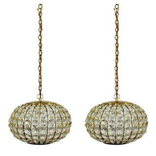 Mid Century Modern Crystal & Brass Hanging Pendant Light Fixtures 1950s - a Pair For Sale