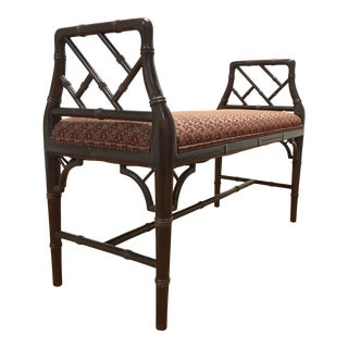Chinese Chippendale Style Faux Bamboo Fretwork Window Bench For Sale