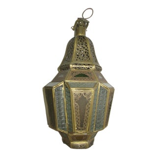 Antique Moroccan Lamp Gold With Colored Glass For Sale