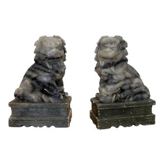 Vintage Asian Marble Foo Dogs Bookends For Sale