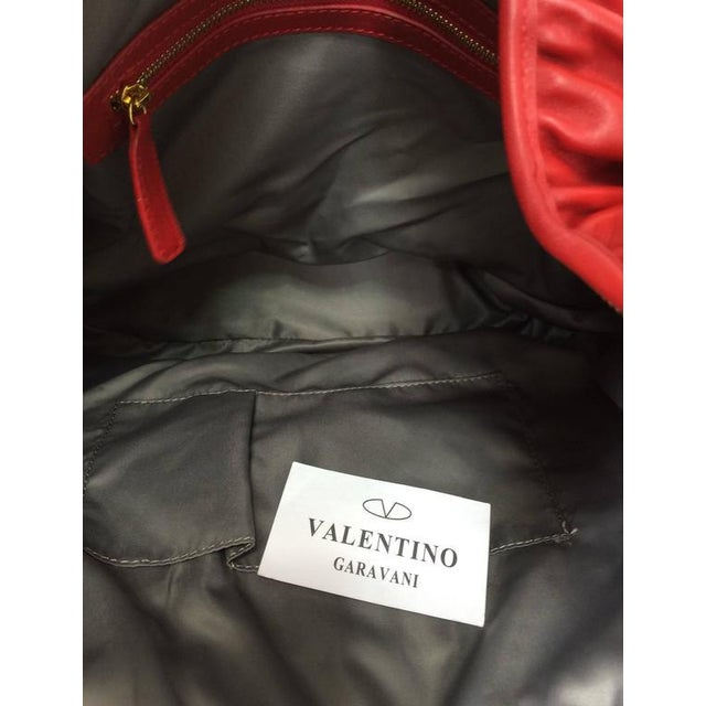 Valentino Large Red Leather Ruffle Shoulder Bag For Sale - Image 10 of 11