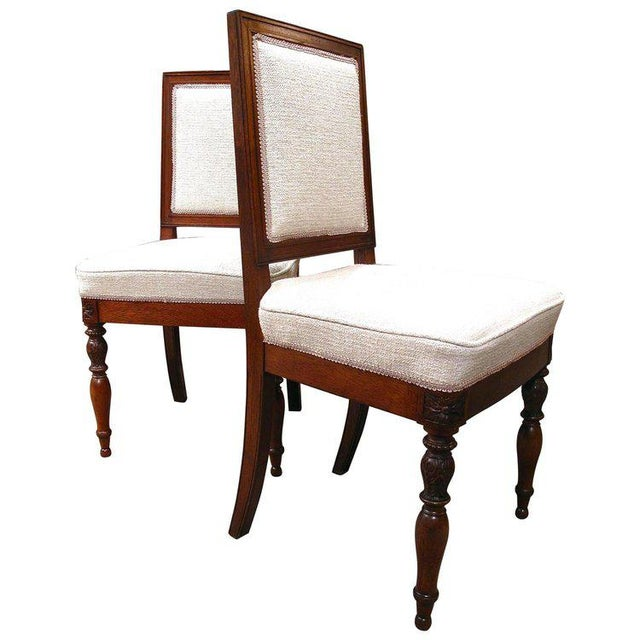 19th Century French Walnut Square Back Chairs - a Pair - Image 9 of 9