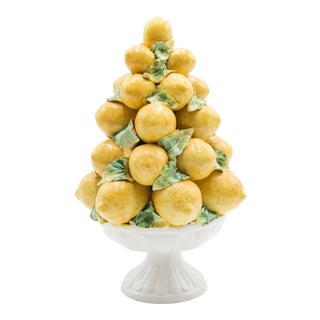 Vintage Italian Majolica Lemon Topiary For Sale