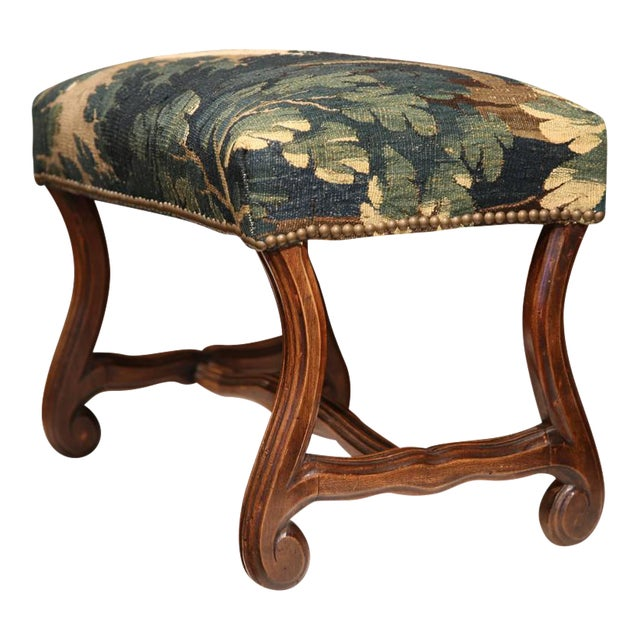 Late 19th Century French Louis XIII Carved Walnut Stool With Aubusson Tapestry - Image 1 of 9