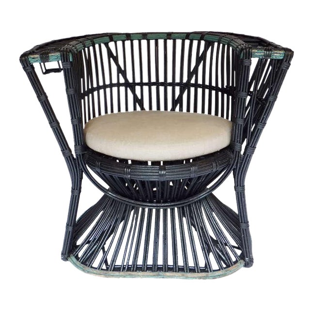 Rare Curved Stick Wicker Chair - Image 2 of 5