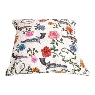 Guns and Roses Motif Throw Pillow