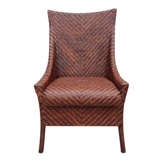 Woven Wicker Wing Back Chairs For Sale