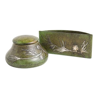 Heintz Bronze Inkwell and Blotter Set - 2 Pieces For Sale