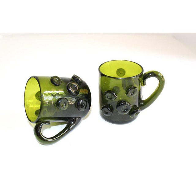 Art Glass Set / 6 Mid Century Modern Glass Espresso Cups With Prunt Details For Sale - Image 7 of 13