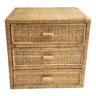 Boho Chic Bielecky Brothers Rattan 3 Drawer Chest For Sale