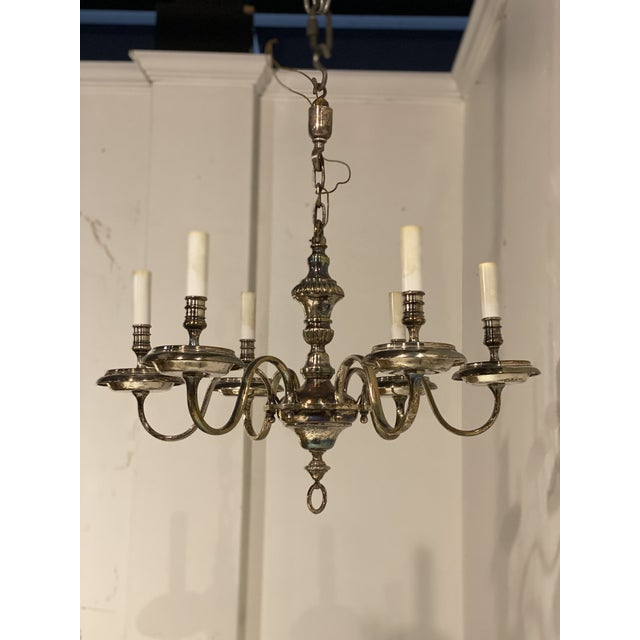 1920s 1920's Caldwell Six Light Silver Plated Chandelier For Sale - Image 5 of 9